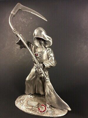 Grenadier 1991 Pewter Grim Reaper Red Crystals Jeweled RF1250 Scythe Role Play