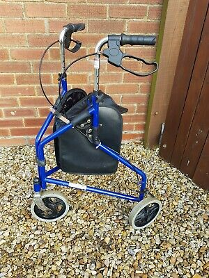 Mobility Tri Walker Blue With Storage Bag Light Weight 3 Wheeled