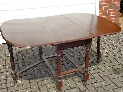Antique Edwardian Solid Oak Drop Leaf Gateleg Table