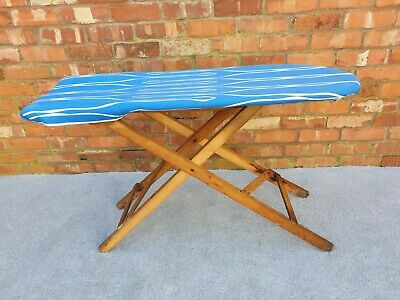 Authentic original vintage or antique adjustable wooden ironing board
