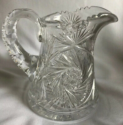 ABP Antique American Brilliant Heavy Cut Glass Crystal Clear Water Juice Pitcher