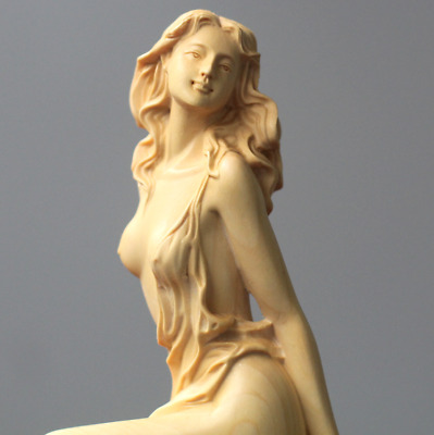1x European Lady Carving Boxwood Handicraft Beautiful Home Decor Girl Sculptures