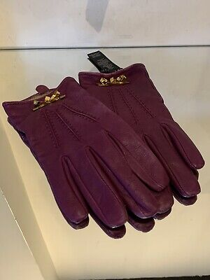 Ted Baker Ladies Purple Leather Gold Bow Bowra Gloves S/M