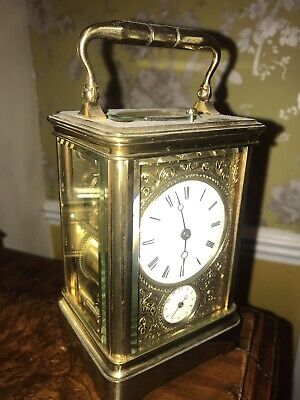 Antique French Drocourt Striking Repeater 8 Day Double Corniche Carriage Clock