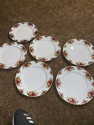 6 Royal Albert Old Country Roses 10 5/8 inch Dinner Plates Made in England New