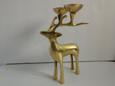 """Heavy Solid Brass Deer Double Candle Holder Horned Buck 8"""" VERY NICE"""