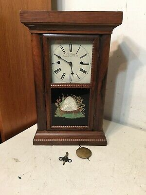 Antique JC Brown Forestville MFG Half Ripple Fusee Movement Cottage Shelf Clock