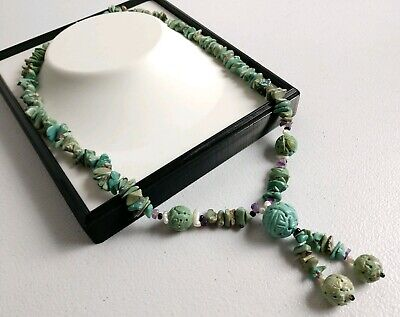 Old Chinese Carved Turquoise Shou Bead Nugget Pearl Amethyst Necklace Sterling