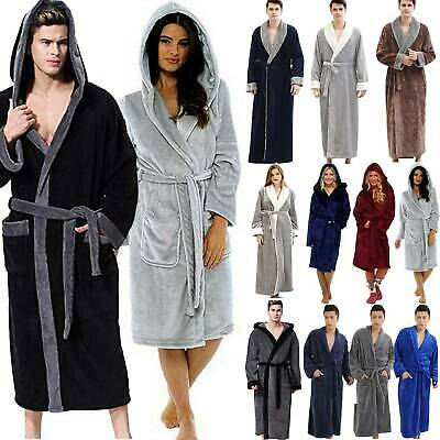 Men's Womens Fleece Hooded Bathrobe Dressing Gown Fluffy Robe Winter Nightwear
