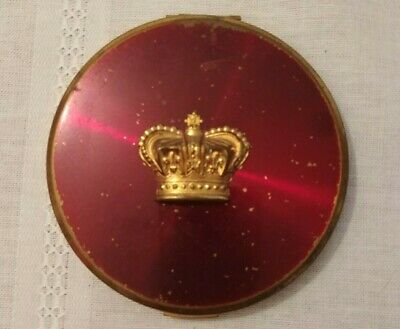 Rho-Jan Vintage Round Compact Mirror with Puff Empty