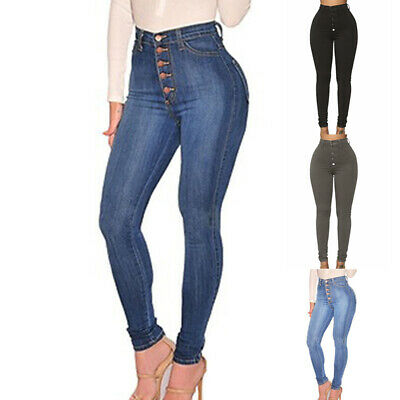 Women Casual Stretch Pencil Pants High Waist Skinny Jeggings Jeans Slim Trousers