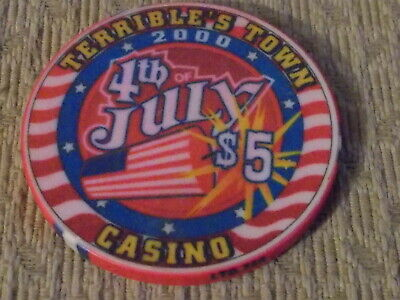 TERRIBLE'S TOWN CASINO $5 hotel casino gaming poker chip ~ Pahrump, NV