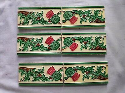 1940s 6 Pcs Majolica Floral Art Nouveau Architecture / Furniture Tile , Japan
