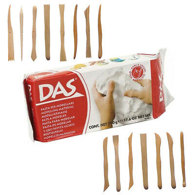 Das Air Drying Clay White 500g & Set of 15 Assorted Wooden Modelling Tools