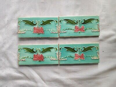 1940s 4 Pcs. Embossed Majolica Ribbon Art Architecture / Furniture Tile ,England