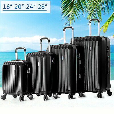 "4 Piece Luggage Set Black Travel Rolling Suitcase Hard Shell Spinner16""20""24""28"""