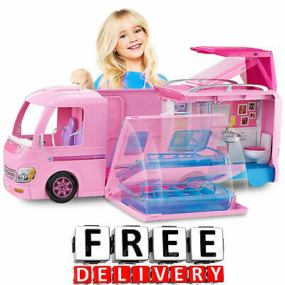 Barbie Camper House Car Vehicle Furniture Accessories Dream Doll Playset Pop Up