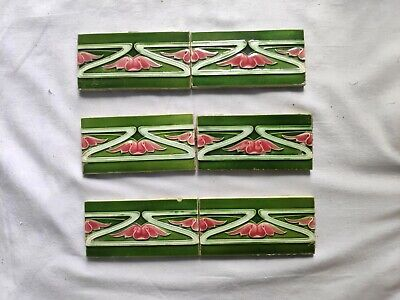 1940s 6 Pcs. H & R Johnson Ltd. Majolica Art Architecture/Furniture Tile,England