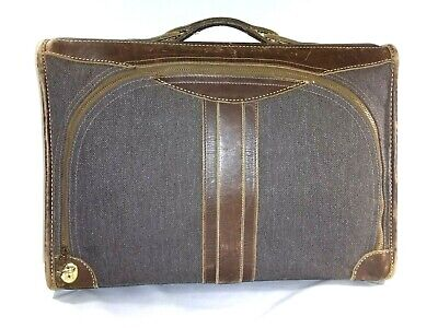 Very Old Canvas & Leather Suit Case Luggage Brown Unbranded TALON Zippers Rare