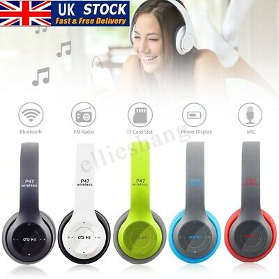 New Mic Foldable Wireless Bluetooth Stereo Headset Handsfree Headphones UK 2019