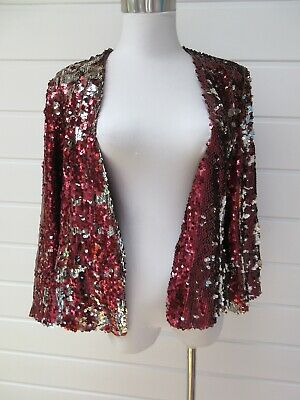 NWT ASOS Petite Womens Red & Silver Reversible Sequin Jacket - Size 16