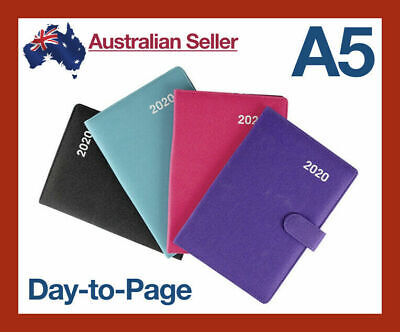 2020 Day-to-a-Page Diary - A5 Soft PU Leather Appointment Planner Journal Daily
