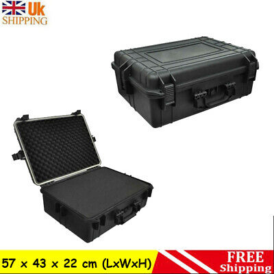 Transport Hard-Case Black with Foam Carrying Case Tool Storage Box Protective UK