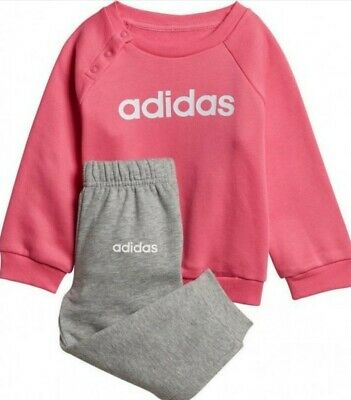 Adidas Linear Tracksuit Jog Top and Bottoms Girls Infants Pink Grey