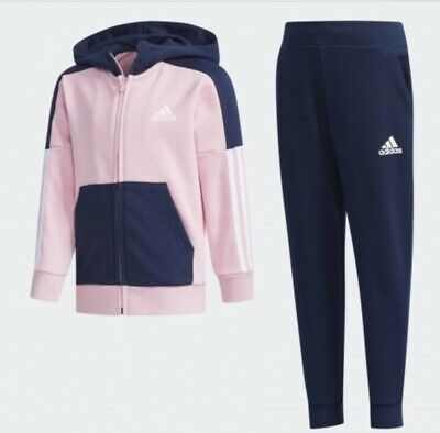 Adidas Girls Essentials Fitted Tracksuit Top And Jog Bottoms Pink Blue