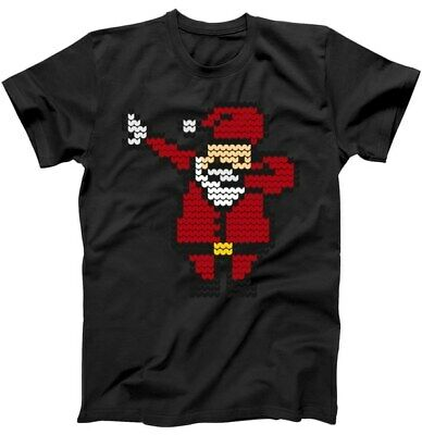 Funny Dabbing Santa Pixel Classic Black T Shirt. Best Christmas Gift For Friends