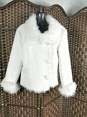 Jane Norman UK 10 Faux Suede & Fur White Jacket Immaculate Winter Casual #rb