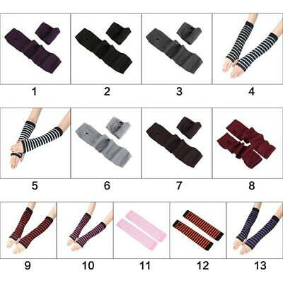 New Women Girls Long Gloves Stripes Printed Over Elbow Length Arm Warmer Sleeves
