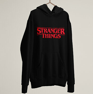 Stranger Things Hoodie Sweater Pullover Black Red Sparkle Kids Childrens gift