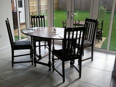 Antique oak barley twist dropleaf gateleg dining table with 4 matching chairs