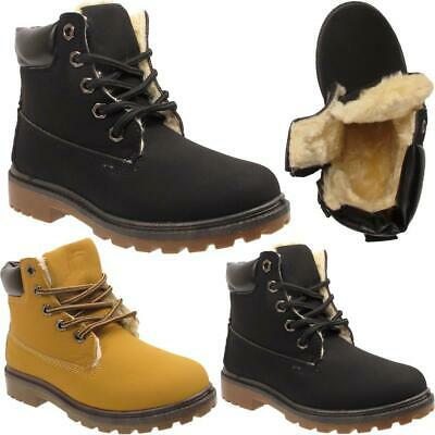 Boys Girls Kids Youth Warm Fur Lined Lace Up Combat Winter Snow Ankle Boots Shoe
