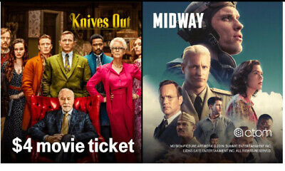 (2) $4 Atom Movie Midway or Knives Out tickets exp 11/18