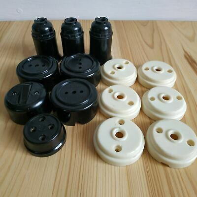 Vintage carbolite bakelite sockets and light switches USSR Set Kit 14 pcs Stamp