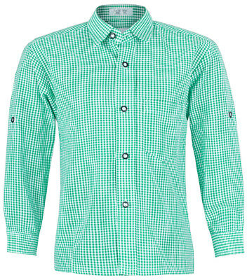 Isar Trachten Children Traditional Shirt Martin - Green Checked down Leather And