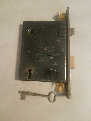 Antique Door Lock Assembly w/ Key M.W. & Co New Haven 1864 Locks & Unlocks