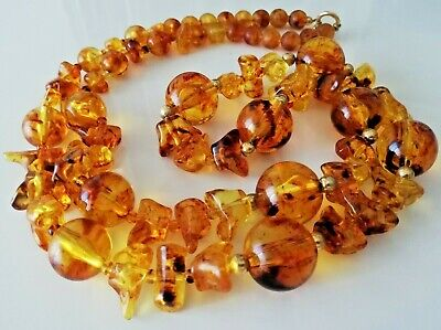 Collana Vintage design Modernist 1970's lunga lucite color ambra necklace