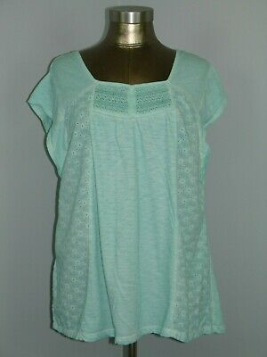 Style & Co Womens Size L (40) Green Short Sleeve Top Lace Accent 308-17066