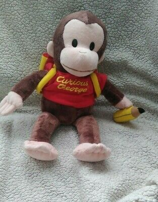 "extremely rare  Gund vintage 17"" plush Curious George with backpack"