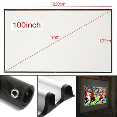 """HD Projector 100"""" Inch Screen 16:9 Wall Ceiling Home Theater 3D 4K Cinema 1080P"""