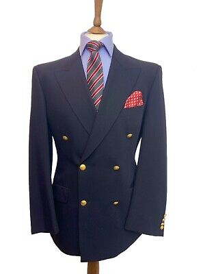 Marks & Spencer 42 Regular Pure Wool Navy Double Breasted Blazer, Brass Button