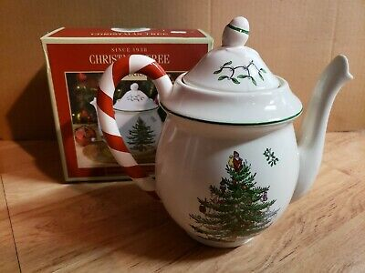 Spode Teapot With Candy Cane Handle christmas holiday