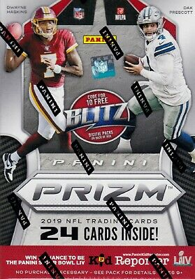 2019 Panini Prizm Football sealed blaster box 6 packs 4 NFL cards 1 memorabilia