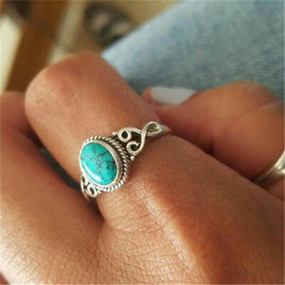Unisex Tibetan Silver Turquoise Ring Size R 3/4 Reduced For A Limited Period