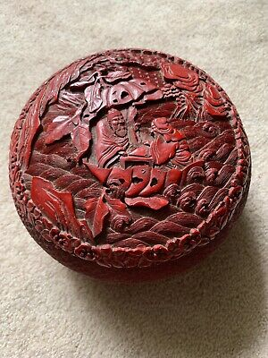 Chinese Carved Cinnabar Lacquer Box, Trees & Men Scrolling Floral