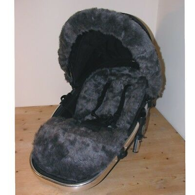Luxury Fur Seat Liners and Hood Trim package for egg Pushchairs