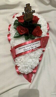 Christmas Artificial Silk Funeral Flower Teardrop Memorial Tribute Mum Dad Son